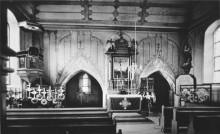 Das Innere der evangelischen Kirche vor etwa 100 Jahren
